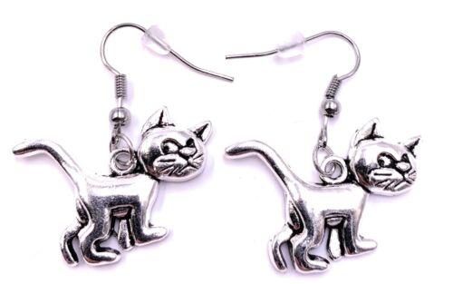 Katze Cat Grumpy Ohrringe Ohrschmuck Anhänger Silber Metall