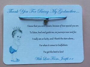 Godmother Card Godfather Godparents Card Gift Wish Bracelet Thank