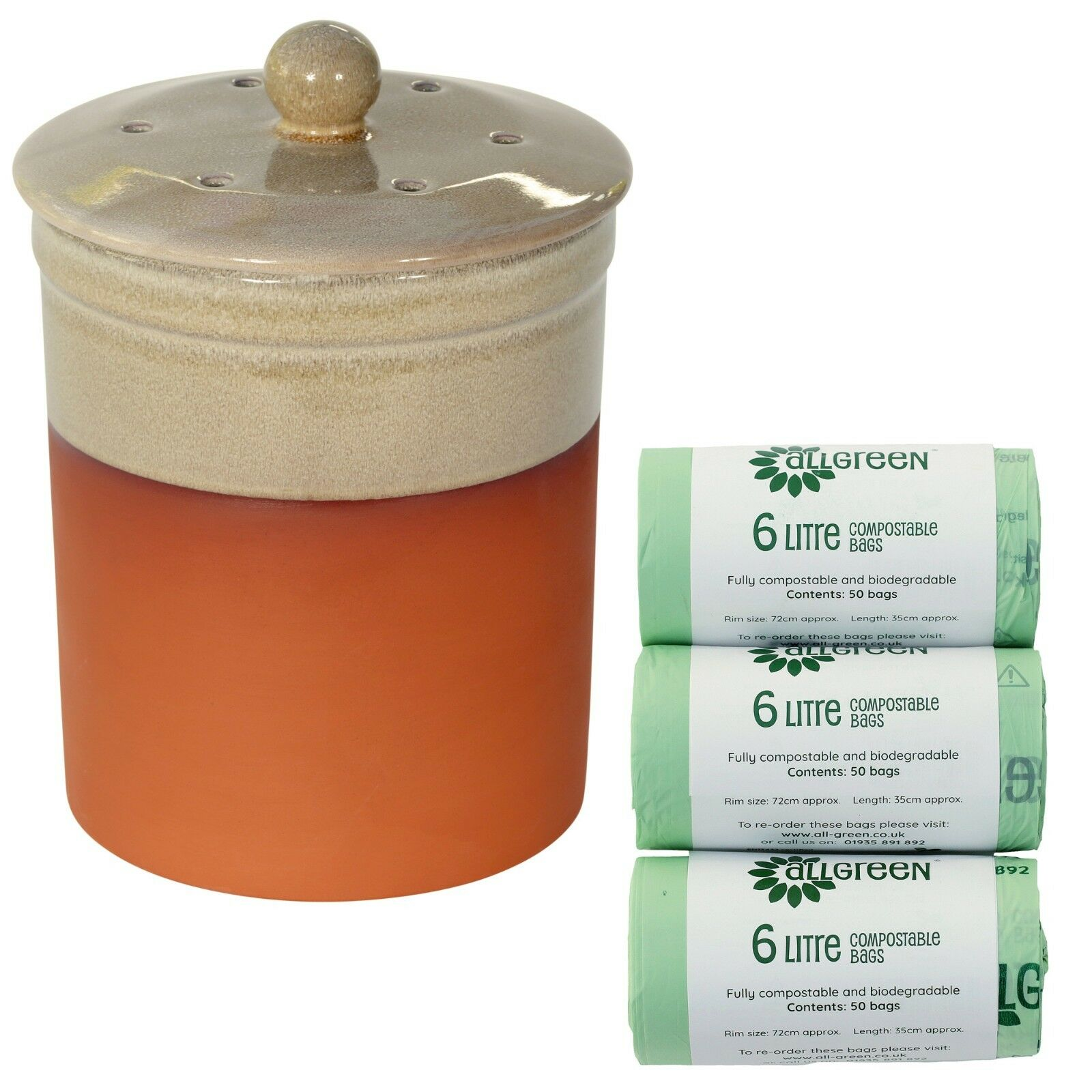 Chetnole Terracotta Compost Caddy - Sand & 150x Biobags - Kitchen Bin