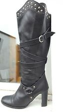 viva la diva black leather studded high heel knee high boots 5