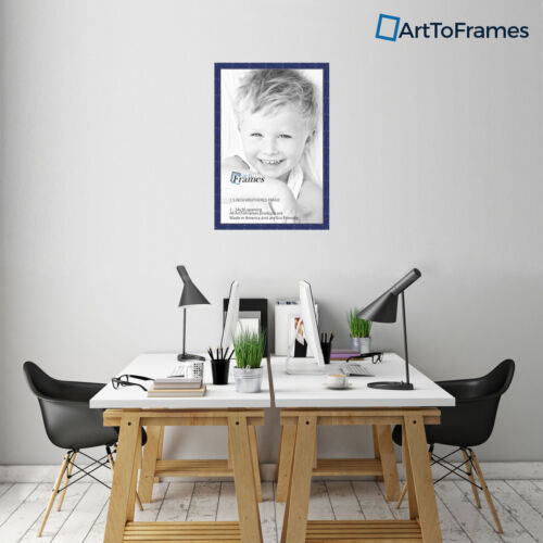 """ArtToFrames Custom Picture Poster Frame Navy Blue 1.5/"""" Wide Wood"""