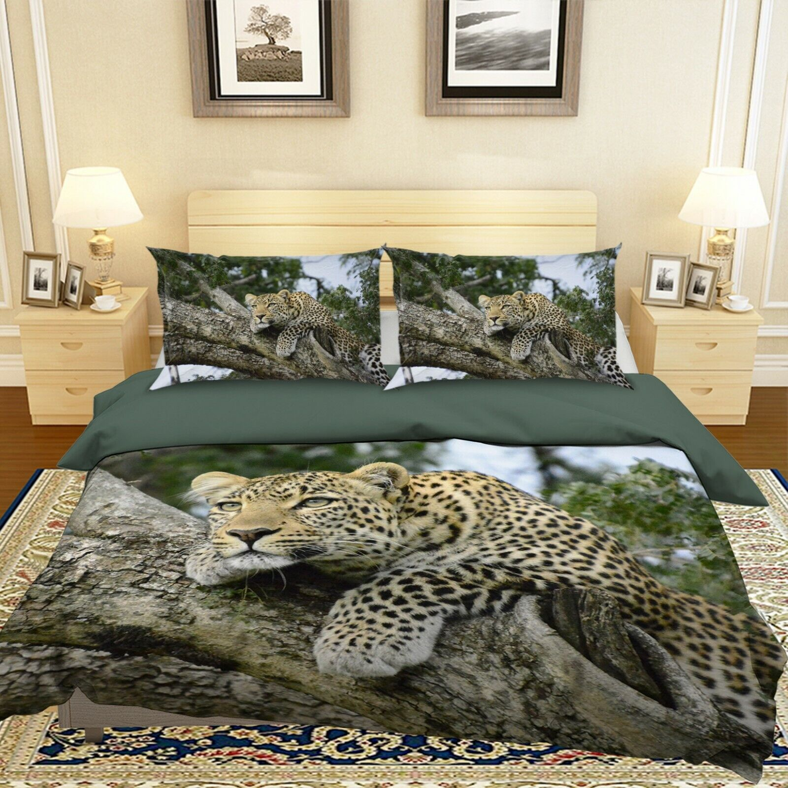3D Leopard N68 Animal Bed Pillowcases Quilt Duvet Cover Queen King Amy