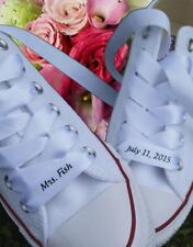 Personalised Satin Ribbon Wedding Shoe Laces! Converses Bridesmaid Engagement