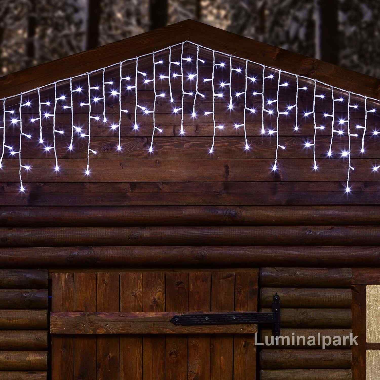 Eiszapfen 5,3 x 0,3 m, 352 LEDs kaltweiß, Dauerlicht, weißes Kabel, erweiterbar