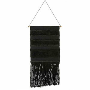 Black-Woven-Patterned-Hanging-Wall-Decor-with-Long-Fringes-by-Ib-Laursen