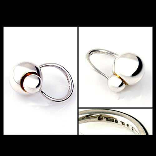 Gold Georg Jensen Silver Ring # 509 CAVE with 18 Ct