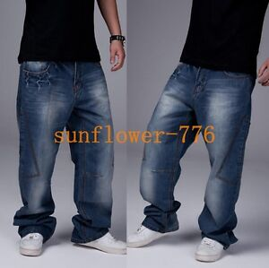 Mens-Hip-Hop-Jeans-Casual-Pants-Fashion-Baggy-Jeans-Cargo-Pants-Loose-Trousers