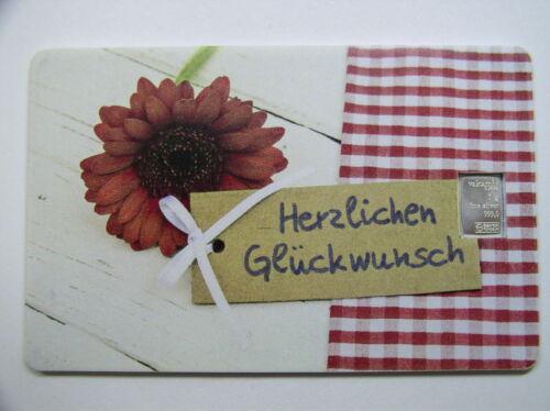 Silberbarren , Valcambi  , Geschenkkarte , Motiv : Herzlichen Glückwunsch , # 03