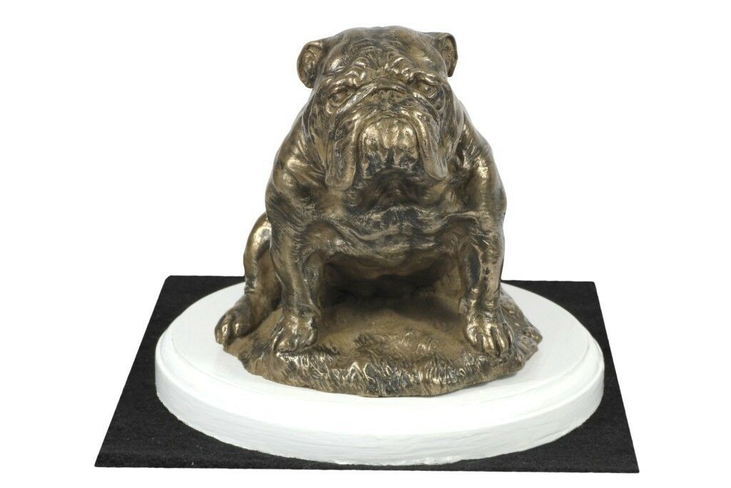 Bulldog inglese 3 - figurina con un cane su una base di legno blancoo, Art Dog IT