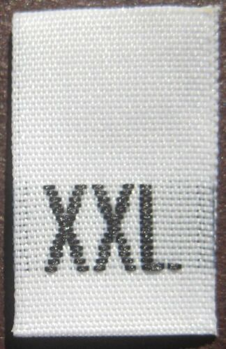 WHITE XXL 100 PCS WOVEN CLOTHING SEWING LABEL SIZE TAGS
