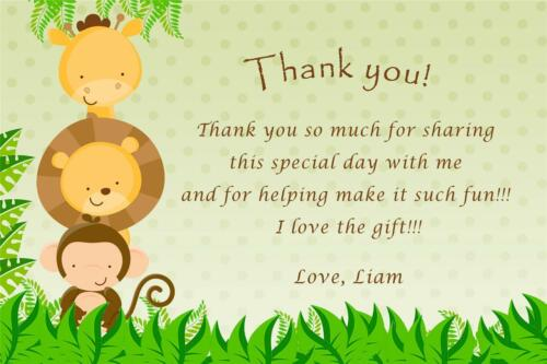 30 Custom Thank You Card Notes Jungle Baby Boy Shower Birthday Party Animals A1