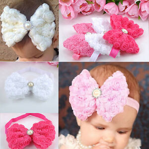 Soft-Baby-Girls-Rose-FLOWER-Bow-Hair-Accessories-Band-Elastic-Headbands-Hairband