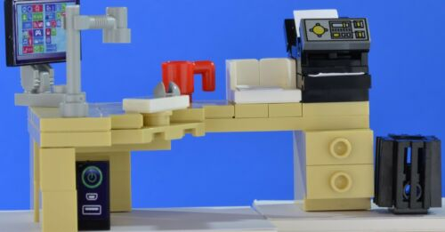 LEGO office corner desk set computer and printer bookcase red coffee machine