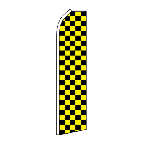 Black and Yellow Checkered Advertising Flag Swooper Feather Super Racing