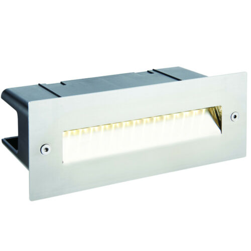 IP44 LED Full Brick Light –Stainless Steel /& Angled Down Guide– 2W Cool White