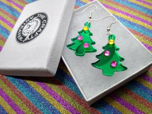 Árbol de Navidad Pendientes Pendientes de Acrílico Espejo De Corte Láser Verde Pendientes De Navidad