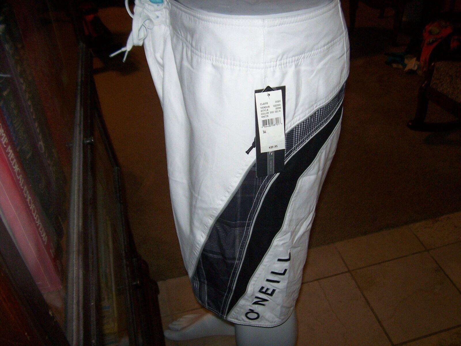 New O'NEILL board shorts swim trunk white plaid boardshorts Santa Cruz 30 or 31