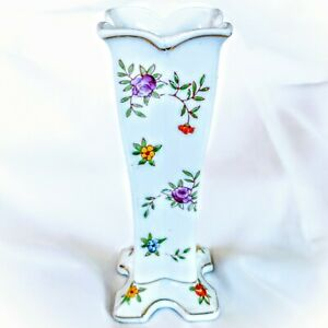 "Vintage TT Japan Hand Painted Floral Chintz Porcelain Bud Vase 7"""