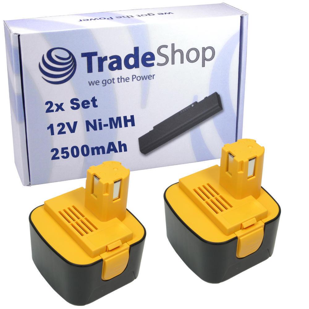 2x Trade-Shop Akku 12V 2500mAh Ni-MH für Panasonic EZ6000 EZ6101 EZ6200 EZ6201
