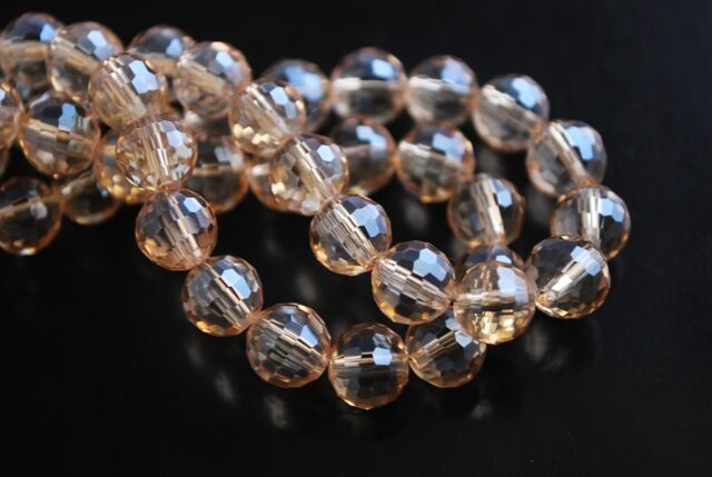 30pcs 8mm 96Facet Round Faceted Crystal Glass Loose Findings Beads Amber Gold