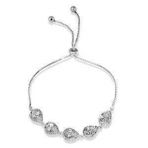 Image Is Loading 925 Sterling Silver Lariat Bracelet W Lab Diamonds