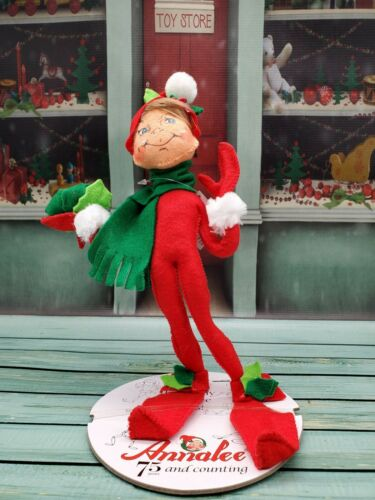 """Annalee 12/"""" Holly Berry Elf Red Collectible Poseable Figurine 500715"""