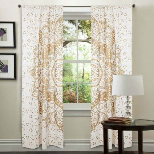 Cotton Gold Color Flower Ombre Mandala Wall Hanging Door Window Curtain Tapestry