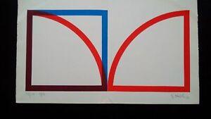 Sérigraphie double page Op Art signée et datée 1968 abstraction géométrique