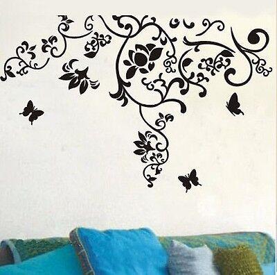 Huge Butterflies Flowers Vine Tree Wall Stickers art Mural Children Wallpaper