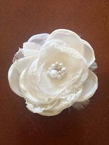 Image Is Loading Bridal Prom Wedding Lace Hairpiece White Alligator Clip