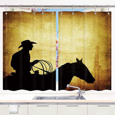 American Cowboy Horse Retro Style Kitchen Curtains Window Drapes 2 Panels 55x39 Ebay