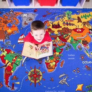 Kids world map atlas geography floor mat rug for play boy girl image is loading kids world map atlas geography floor mat rug gumiabroncs Gallery