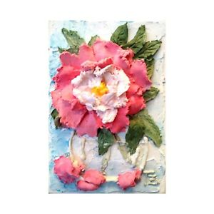 Details about Peonies Pink White Sculptural painting Floral still life 5X7  inches
