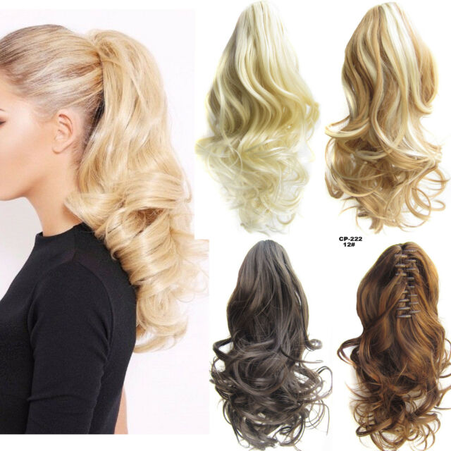 Women Lady Curly Clip In Ponytail Pony Tail Hair Extension Claw On Hair Piece AU