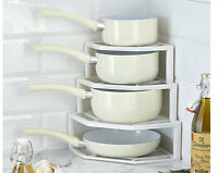 PLATE & PAN SPACE SAVER* SHELVES RACK HOLDER 4 TIER CORNER STACKER STAND STORAGE