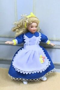 Doll In Blue Dress Dollhouse Miniature Resin Figurine