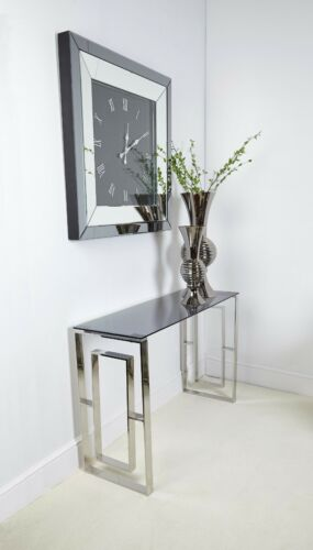 Plaza Contemporary Stainless Steel Smoked Glass Console Hall Display Table