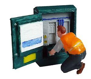 FG03-Telephone-Engineer-amp-Cabinet-Figure-unpainted-N-scale