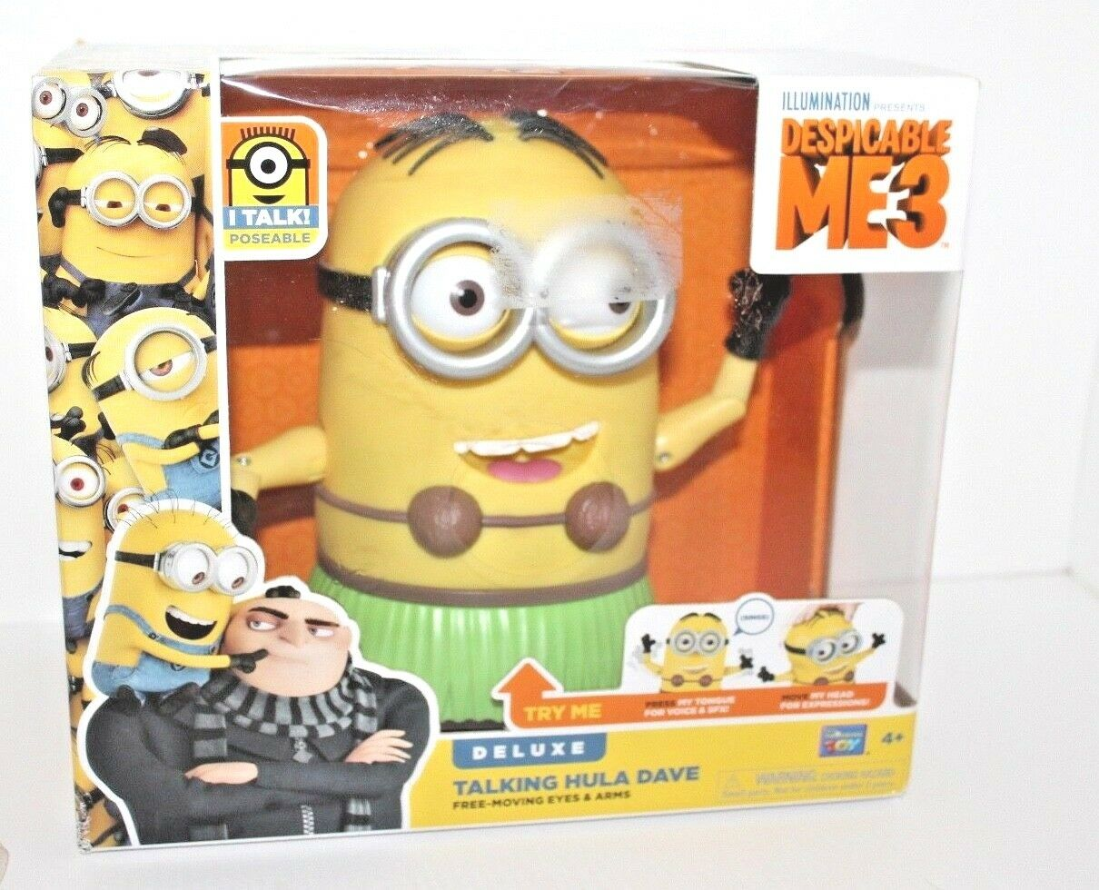 Despicable Me 3 ME3 Minion Deluxe Talking Dave Figure w Free Moving Eyes /& Arms