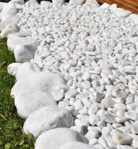 Decorative SNOW WHITE Polished Pebbles / Stones / Landscape Garden