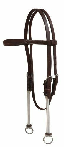 Showman American Oiled Harness Leather GAG HEADSTALL with Nylon Cord Cheeks