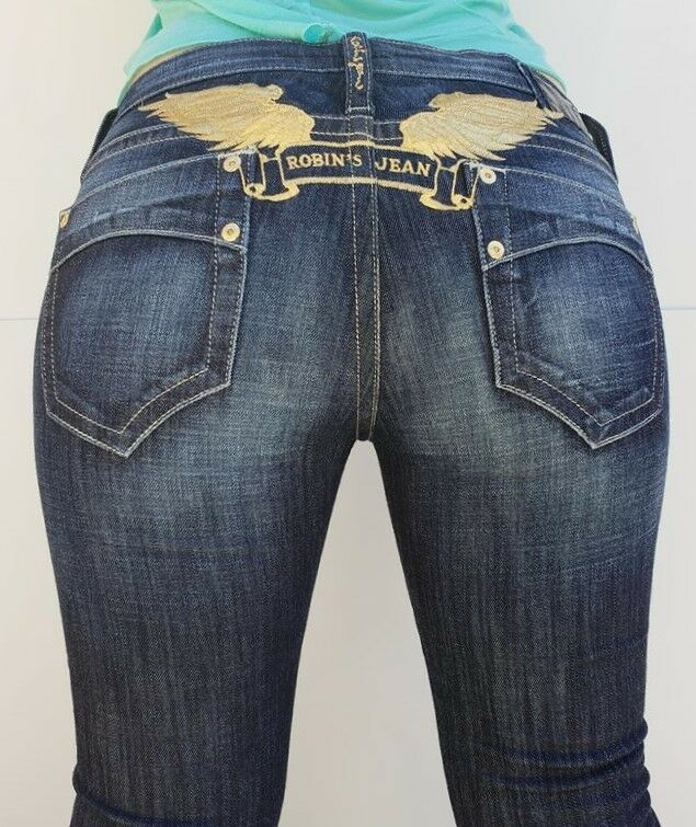 New Women's ROBIN'S JEAN sz 23 Super Marilyn Straight Jeans -gold Wings