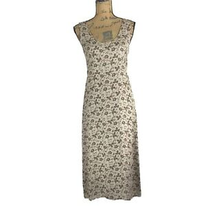 DKNY-Classic-4-Sm-S-Dress-100-Silk-Taupe-Olive-Green-Burgundy-Floral-Midi-Shift