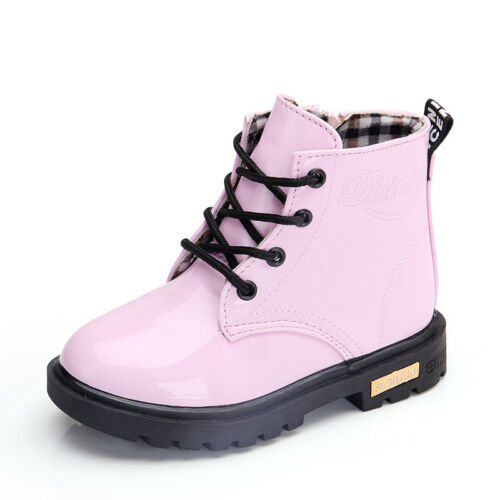 Children/'s Martin Boots Boys and Girls Lace Grid Lined Ankle Boots Martin Shoes