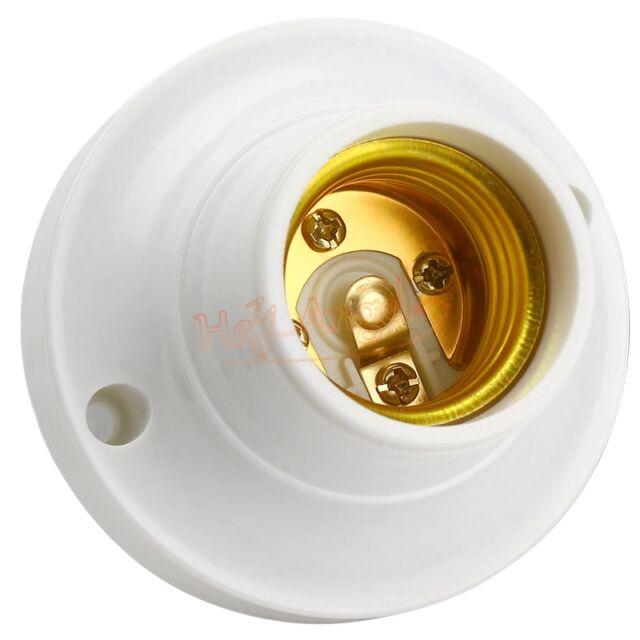 Hot Sale BU E27 Round Plastic Base Screw Light Bulb Lamp Socket Holder White AC