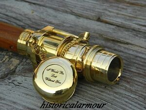 """polished Heavy Brass Telescope and Compass Handle Cane Walking Stick"""""""