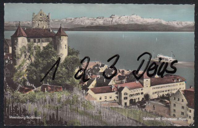 1222Q)  Ansichtskarte  AK  Meersburg  Bodensee    Schloss mit Schweizer Alpen