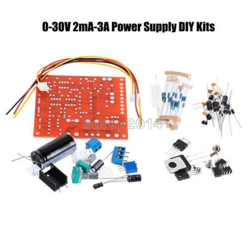Rouge 0-30 V 2mA-3A réglage continu DC Regulated Power Supply À faire soi-même Kit PCB