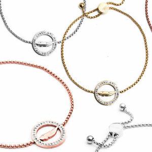 Edelstahl-Armband-Armschmuck-Feder-Damen-dezenter-Schmuck-Strass-Federn-Glueck