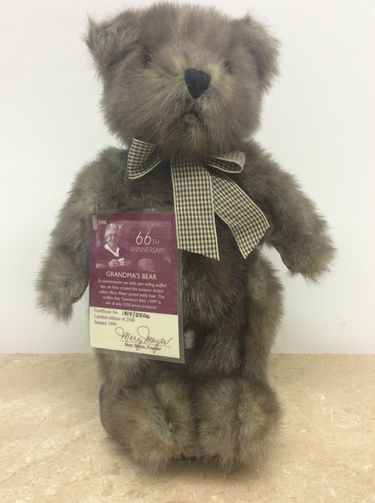 NEW Mary Meyer Grandma's Bear 66th Anniversary 1814/2500 w/Stand
